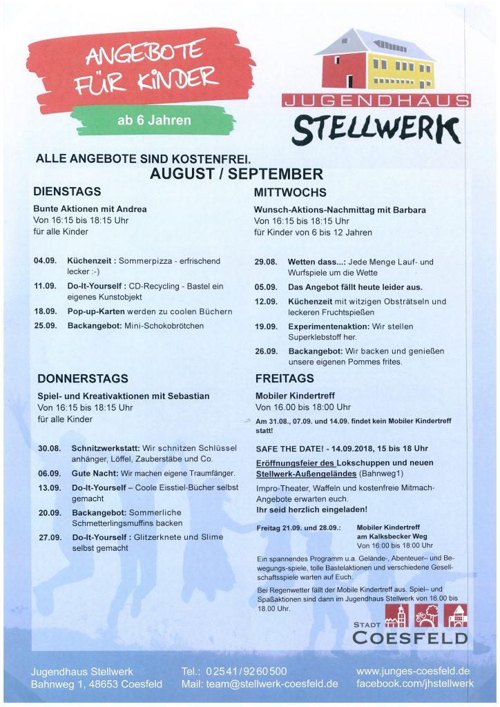 Kinderangebot im Jugendhaus – August/September | Junges Coesfeld